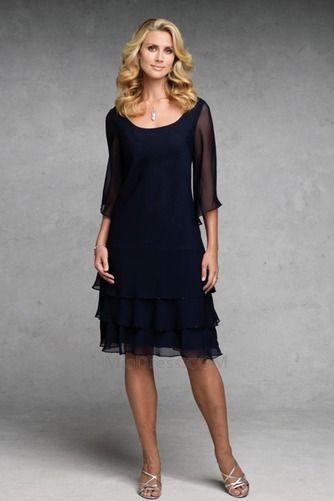 Completa Ver através Sem cintura Decote redondo Layered Vestido para a mãe da noiva - Página 1