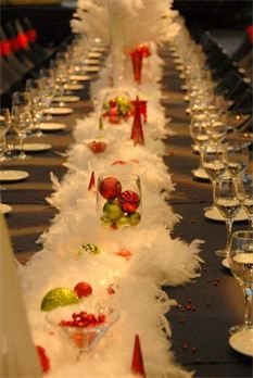 Absolutely gorgeous Christmas table banquet idea. Love the textures and pops of colour!!
