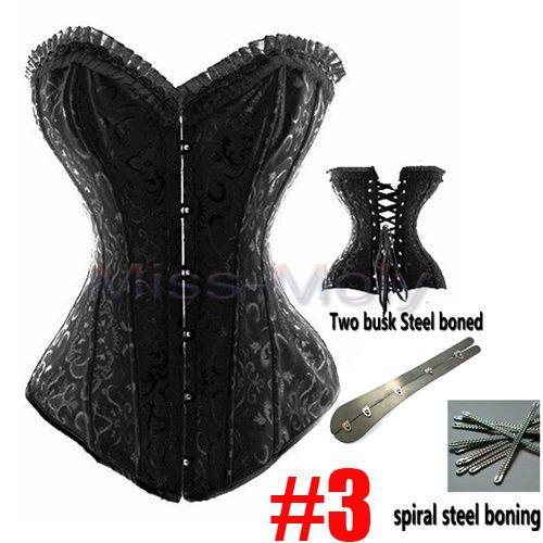 SEXY-Black-Brocade-Boned-Burlesque-Corset-Satin-Bustier-Plus-Size-Body-Shaper