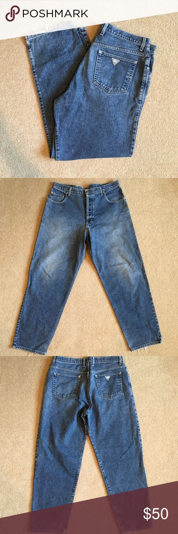 """Vintage Guess Jeans. Men's 36/34 Vintage Guess Jeans. Men's 36/34. Check measurements for an accurate fit. Made in USA. Bottoms have been frayed from wear. Overall great condition!  Measurements: Waist: 18"""" Length: 43"""" Inseam: 32"""" Guess by Marciano Jeans Relaxed"""