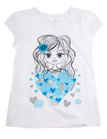 Tickled Pink Heart Print Babydoll Tee product photo