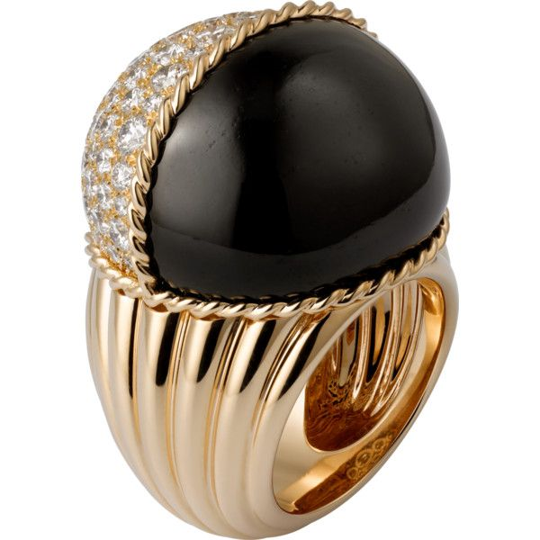 Paris Nouvelle Vague ring Pink gold, black jade, diamonds ($38,300) ❤ liked on Polyvore featuring jewelry, rings, pink gold diamond rings, diamond jewellery, black jade ring, diamond rings and rose gold diamond rings