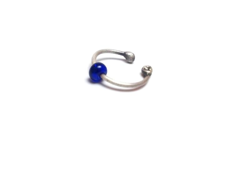 Navy Blue Silver Nose Hoop Ring Silver Lip Ring Blue Fashion Summer Ring Silver Nostril Ring Summer Silver Jewelries Silver Nose Rings by mssdelilah on Etsy