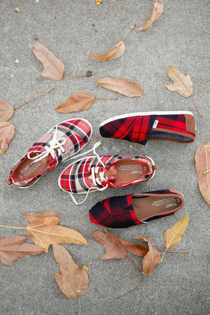 We're mad about plaid! Check out TOMS Del Rey sneakers and Slip-on Shoes in red plaid.