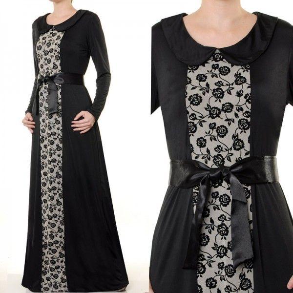 Black lace Abaya Maxi Dress - Royal Hijabs