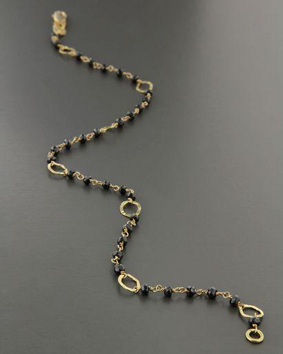 Αλυσίδα ποδιού χρυσή Κ18 με Σπινέλιο