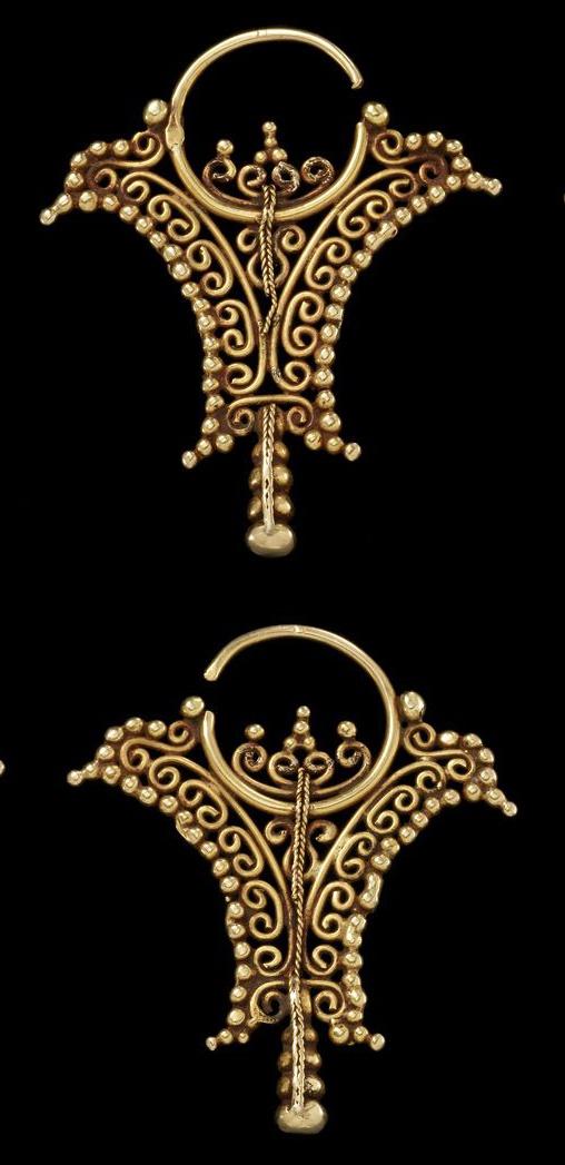 Indonesia | Heirloom Earrings from the Tanimbar islands, Moluccas | Gold | ca. 19th Century or earlier | Price on request.