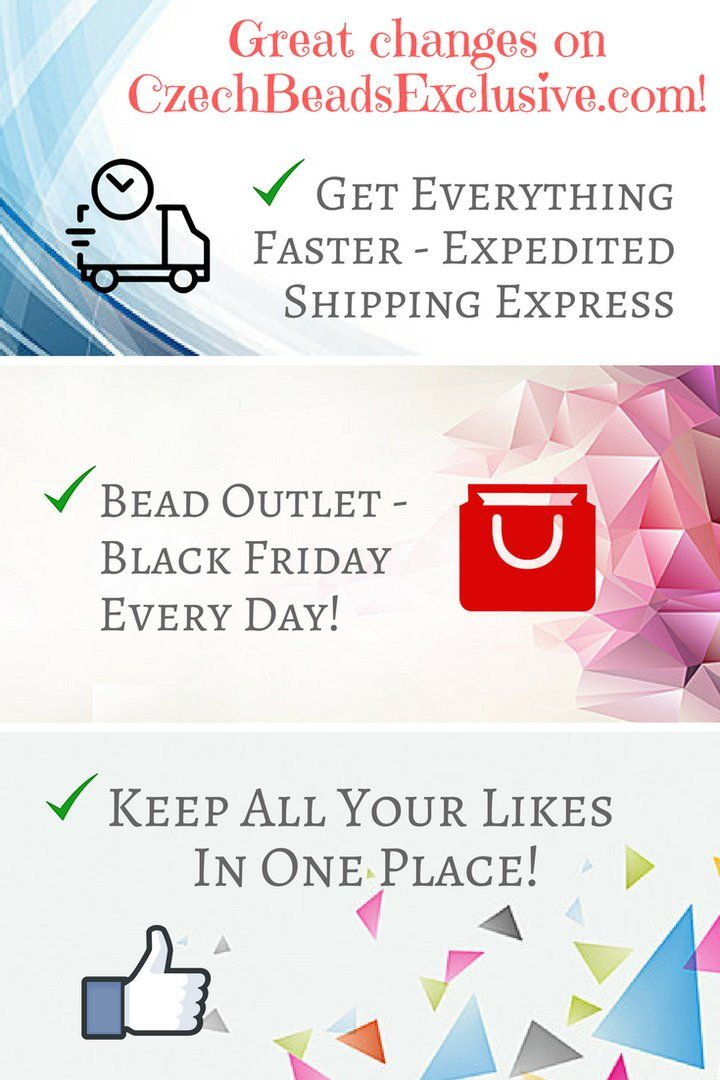 Dear customers! Each day we are working for you and trying to improve our services in order to make them more comfortable and easy in use. This New Year begins with three great novelties on our website, which we are sure you will love! ✅ Get Everything Faster - Expedited Shipping Express ✅ Bead Outlet - Black Friday Every Day! ✅ Keep All Your Likes in One Place! What do you think about our novelties? Please write in comments! We are always happy to hear from you!