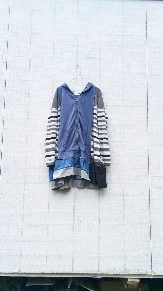 Upcycled Recycled Repurposed Funky Knit Hoodie Dress Tunic Blue and Black Tshirt Dress by CreoleSha