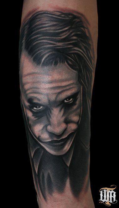 Heath ledger joker tattoo heath ledger as the joker in for Joker batman tattoo