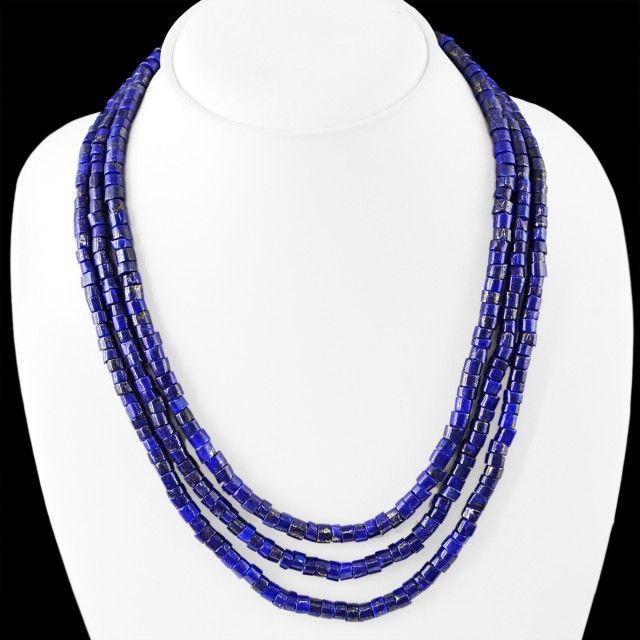 Genuine 410.00 Cts Blue Lapis Lazuli 3 Lines Beads Necklace  lapis beads, gemstone necklace