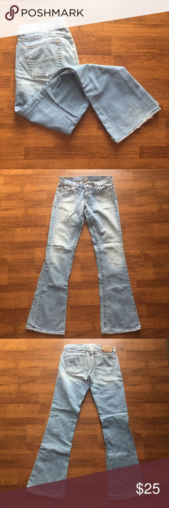 Lucky brand dungarees Ugh wash distress dungaree jeans from lucky brand. The bottoms have light stains on them, not super noticeable. Waistband is 13.5 inches across, rise is 7 inches, inseam is 32.5 inches. Lucky Brand Jeans Boot Cut