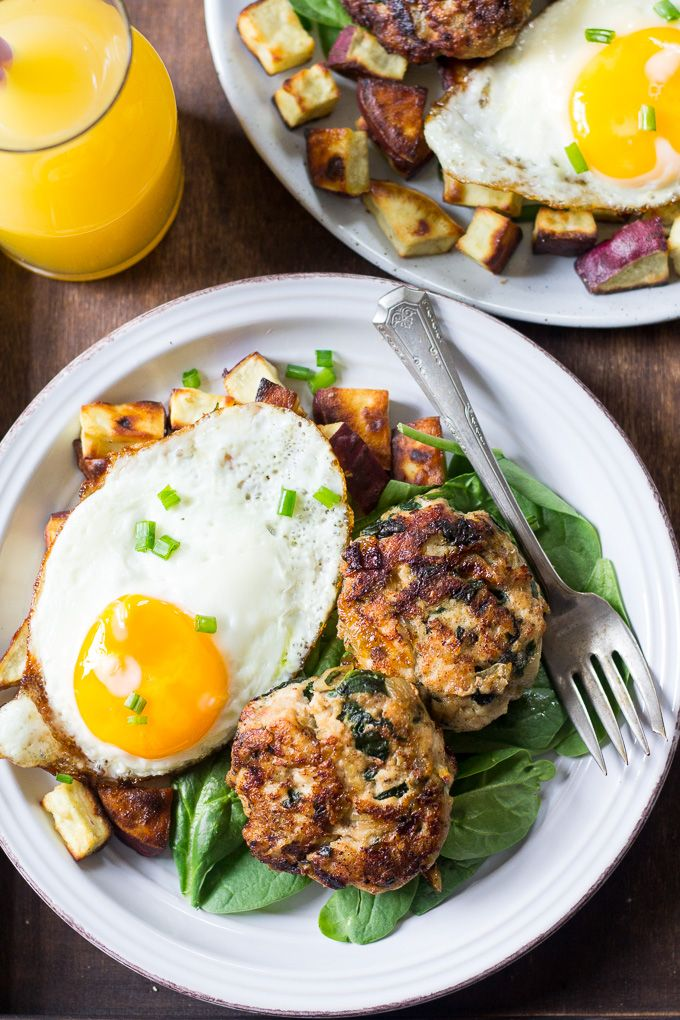 Homemade Chicken Sausage Patties with Spinach and Caramelized Onions that you can make ahead of time and serve with any meal! Paleo and Whole30 compliant.