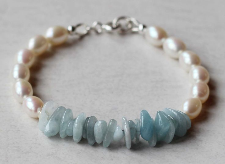 Girl's Bracelet Freshwater Rice Pearls and Aquamarine Pebble Gemstones with Fine Silver Beads. Communion Bracelet. Birthstone Bracelet by ILgemstones on Etsy