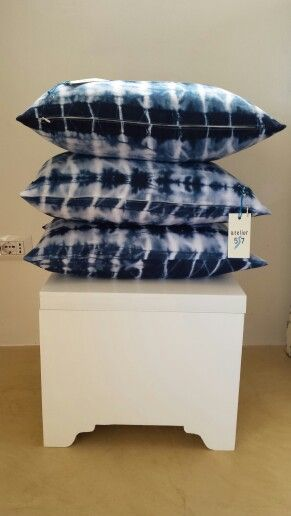 Blue... hand dyed pillows