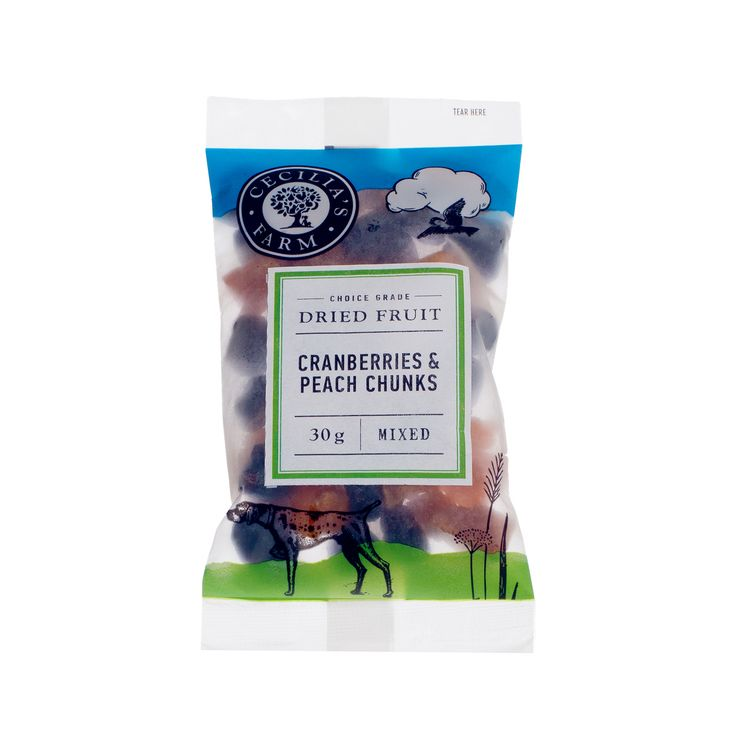 A wonderfully snackable combination of whole dried cranberries from the Willamette Valley in Oregan, USA with their sweet-sour combination and bite-sized chunks of delicious dried peaches with their inviting sweetness and texture. A really satisfying handful of good things! http://ceciliasfarm.co.za/product/cranberries-peach-chunks/