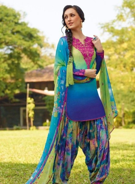 Casual Patiala Salwar Kameez In Multicolor .  Shop at - http://www.gravity-fashion.com/casual-patiala-salwar-kameez-in-multicolor.html
