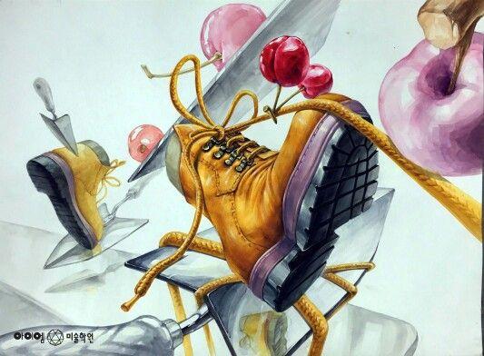 아이엠 미술학원 기초디자인 신발 체리 삽