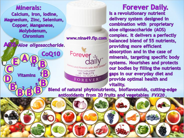 Forever Daily new formula contains 55 perfectly balanced vitamins and minerals. Order at www.nina49.flp.com