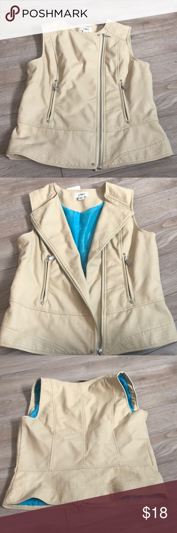 Cream vest Cute styling best with small details. Bright inside lining. asymmetrical zipper. Cato Jackets & Coats Vests