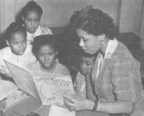Librarian and storyteller Augusta Baker,  with youth.