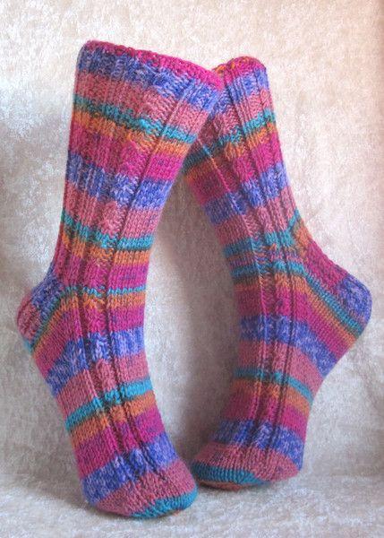 """Socken - Handgestrickte Damensocken 36/37 """"Fun"""" - ein Designerstück von…"""