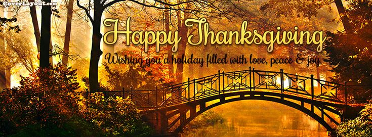Happy Thanksgiving Wishing Love Peace Joy Facebook Cover coverlayout.com