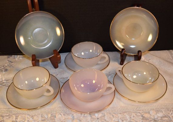 Arcopal Cups and Saucers Set Vintage French Pyrex Opalescent Gold Rims Pale Harlequin Colors 4 Cups 6 Saucers Made in France Glassware