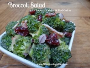 Broccoli Salad with Bacon, Craisins and Red Onion - A Reinvented Mom