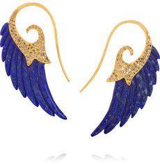Wing Ohrringe aus 18 Karat Gold mit Diamanten und Lapislazuli