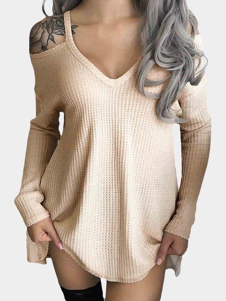 Beige Cold Shoulder Deep V-neck Long Sleeve Knit T-shirt