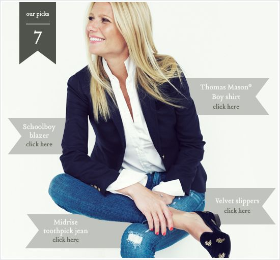 Gwyneth Paltrow for J Crew distressed jeans, navy blazer, loafers