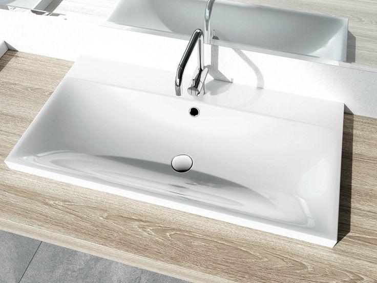 Lavabo da incasso soprapiano rettangolare in acciaio smaltato SILENIO Collezione Ambiente by Kaldewei Italia | design Anke Salomon