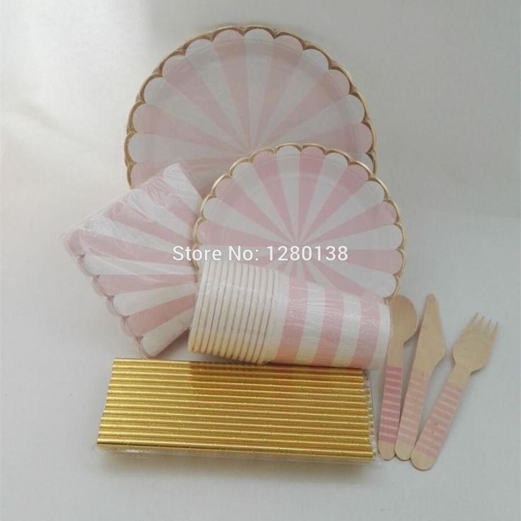 Cheap cutlery bag, Buy Quality cutlery storage directly from China plate flipper Suppliers: Pink and Gold Striped Paper Plates Drinking Straws Favor Party Cups Glitter Gold Tableware Decor Wooden Cutlery Wedding Napkins