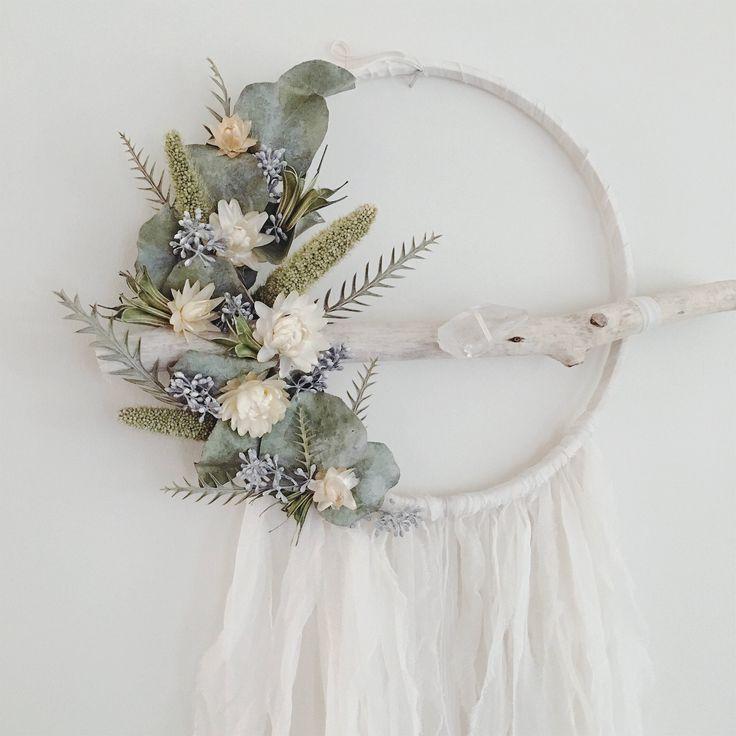 Bohemian Wallhanging https://www.etsy.com/ca/listing/541376917/large-boho-dreamcatcher-dried-flowers #boho #bohodecor #dreamcatcher #botanical