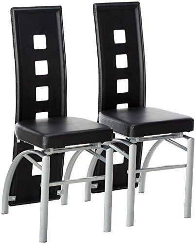 Coaster Home Furnishings Contemporary Dining Chair, Silver/Black