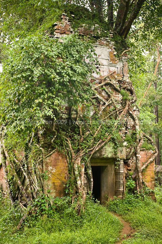 Prasat Pram, in Koh Ker, Cambodia's Forgotten Capital. So far, 96 temples have been found in Koh Ker. On the Chhork Koki highland the Koh Ker Temple was built to worship Treypuvanesvara, the god of happiness.