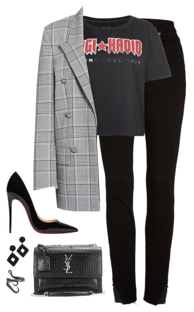 """""""Untitled #4434"""" by magsmccray on Polyvore featuring Good American, Tommy Hilfiger, Alexander Wang, Christian Louboutin, Yves Saint Laurent and Kenneth Jay Lane"""