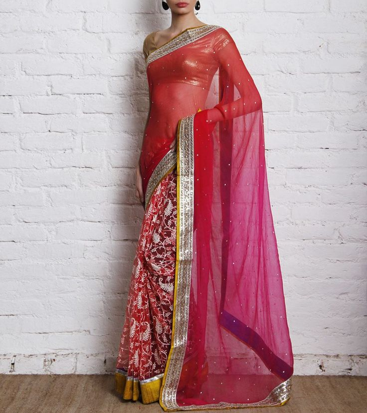Own this beautiful fuchsia half and half saree by PRITI SAHNI through Indianroots.in (An NDTV Venture)  Click to own:  http://www.indianroots.in/brands/m-q/pret-i-by-priti-sahni/pink-orange-embroidered-net-and-chiffon-saree