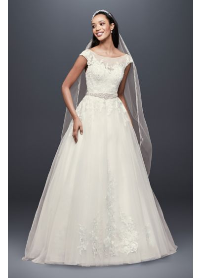 821941bd2 Tulle and Lace Cap Sleeve A-Line Wedding Dress Style WG3906, Ivory ...