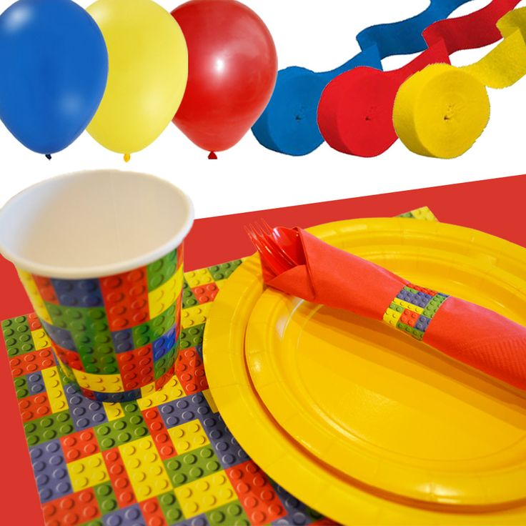 Lego Party Tableware- Cups, Placemats, Plates, Napkins, Silverware, Balloons, Streamers, Table Cover--- Great for a LEGO party! #LegoParty #LegoBirthday