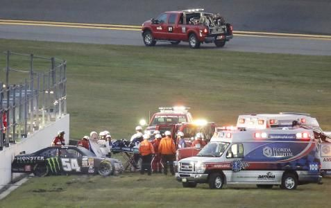 DAYTONA BEACH, Fla. (AP) — NASCAR driver Kyle Busch may be out of Daytona 500 for leg injury in the Xfinity Race at Daytona International raceway on 02/21/2015