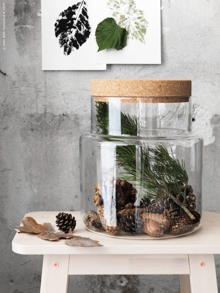 The SINNERLIG glass jar and cork lid is perfect for pinecones and forest finds. || Poppytalk: 3 Autumn-Inspired IKEA Hacks from the Stylists at IKEA