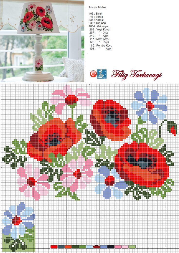 flowers -- Designed and stitched by Filiz Türkocağı...