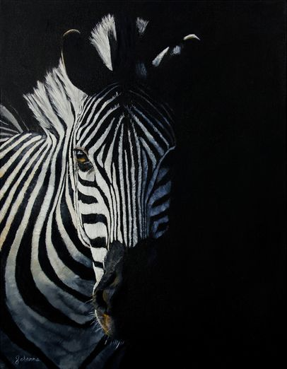 """ZEBRA """"Into The Light"""" giclee prints of the original oil painting by Johanna Lerwick.  Winner of the Daniel Tennant Award at the 2015 Jericho Fine Arts Show."""