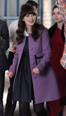 Zooey Deschanel's Purple coat with pockets on New Girl.  Outfit Details: http://wwzdw.com/z/4768/ #WWZDW