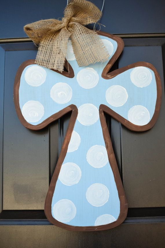 blue baby boy cross door hanger by SwankySouth on Etsy, $40.00