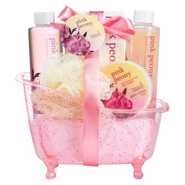 Freida and Joe Pink Peony Bathtub Gift Set (£12) ❤ liked on Polyvore featuring beauty products, gift sets & kits and bubble bath