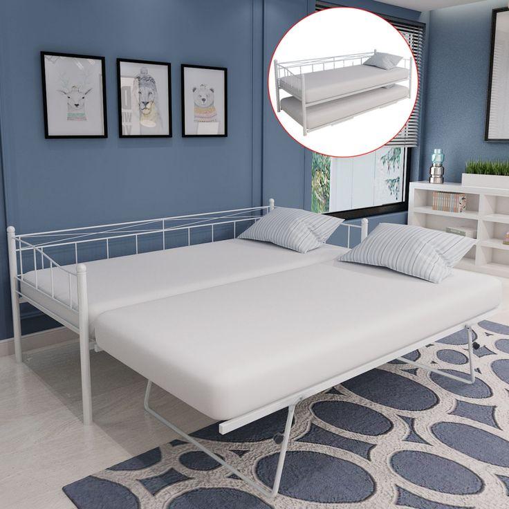 vidaXL cama de día de acero sólo marco 211x100x95 cm blanco