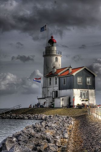 """Het paard van Marken"" (""The Horse of Marken"") - lighthouse on the Dutch peninsula Marken, on the IJsselmeer. Built in 1839 by J. Valk. A primitive lighthouse was on the location since the early 1700s. Current lighthouse is a Rijksmonument since 1970."